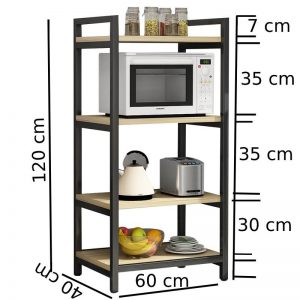 4 layer Metal with Wood Beautiful Microwave Oven and Organizer Rack wq
