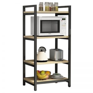 4 layer Metal with Wood Beautiful Microwave Oven and Organizer Rack