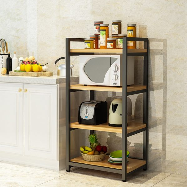 Metal with Wood Beautiful Microwave Oven and Organizer Rack2