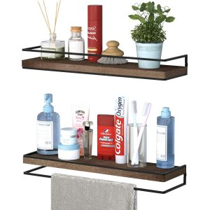 Floating Shelves Rustic Wood Wall Mounted Storage Shelves for Bedroom