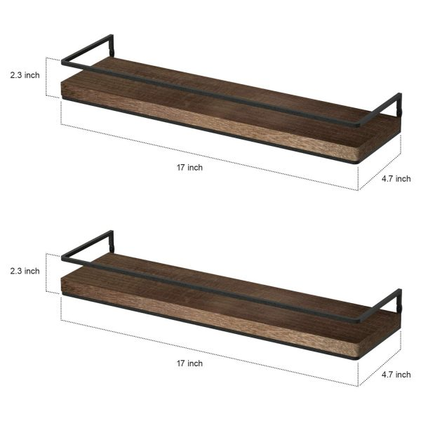 shelves Rustic Wood Wall Mounted Storage Shelves for Bedroom