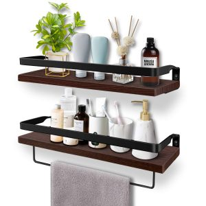 Floating Wall Mounted Wooden Shelves for Kitchen, Bathroom, Living Room and Bedroom