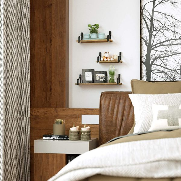 Floating Wall Shelves set of 3 for Bedroom, Living Room, Bathroom, Kitchen, Office and More
