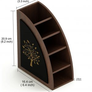 Wood Multi-Purpose Remote, Stationery, and Desk Organizer Holder Stand