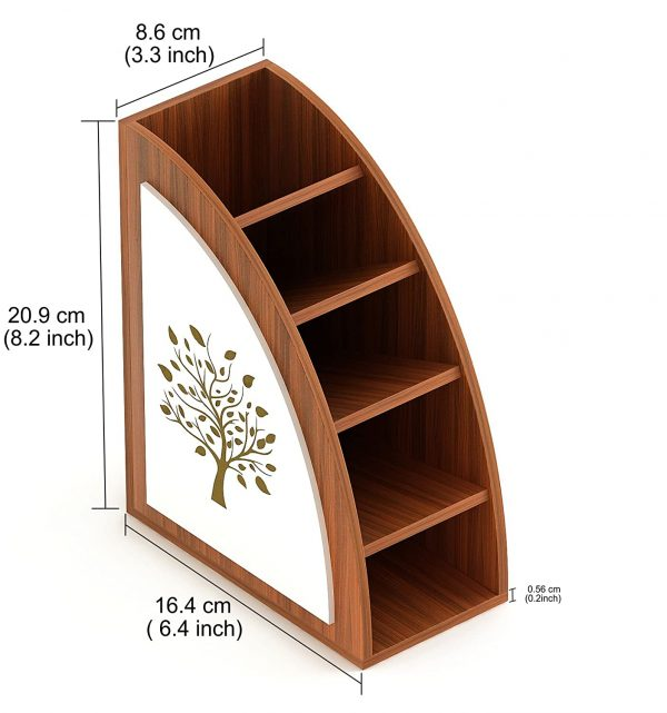 Wooden Multi-Purpose Remote, Stationery, and Desk Organizer Holder Stand