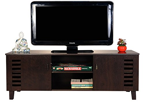 Dark Wenge TV Stand, Media Storage and Home Entertainment Unit with two storage cabinets