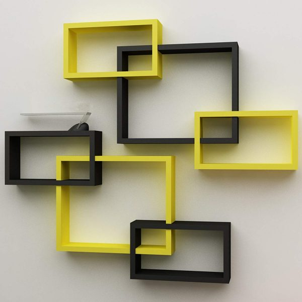 Wooden intersecting rectangular floating wall shelves