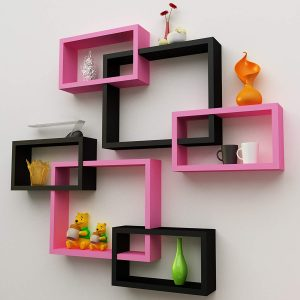 Wall Mounted Intersecting Floating Shelves Set of 6