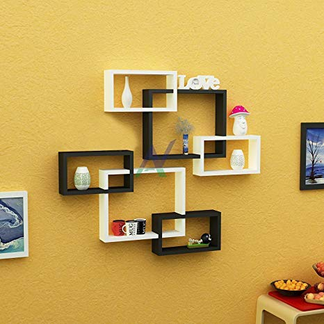 Wall Decoration Intersecting Floating Shelves 6 Set