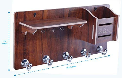 Wall Mount Stylish Wooden Beautiful Shelves with 5 Hock for Home