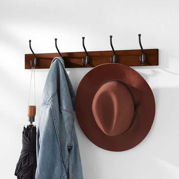 Wall Mounted Farmhouse Coat Rack with 5 Standard Hooks