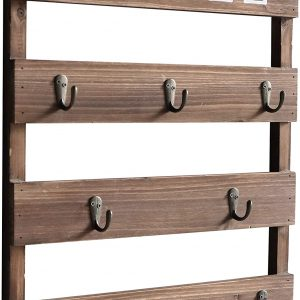 Rustic Wood Cup Organizer with 8 Hooks