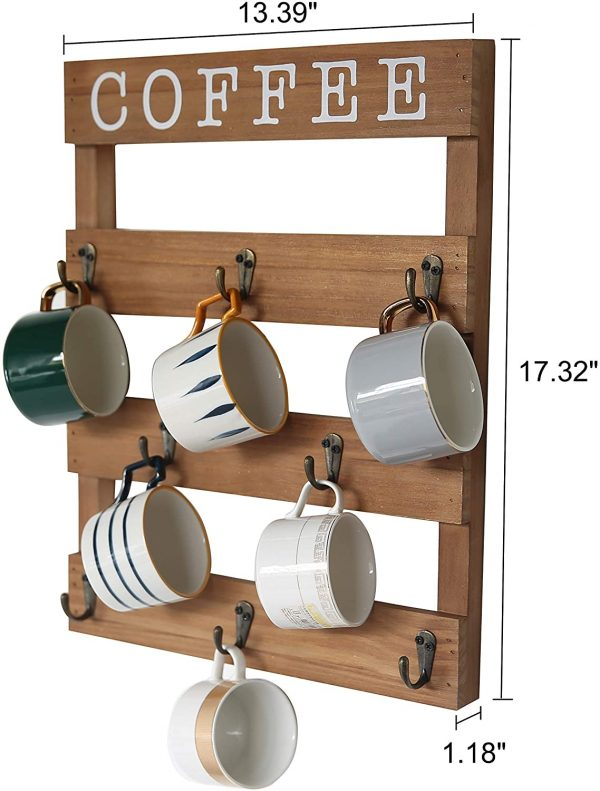 Wall Mounted Rustic Wood Cup Organizer with 8 Hooks
