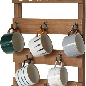 Wall Mounted Rustic Wood Cup Organizer