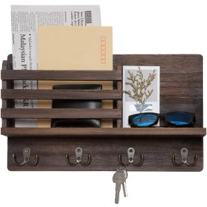 Wall Mounted Stylish Wooden Mail Sorter Organizer with 4 Double Key Hooks