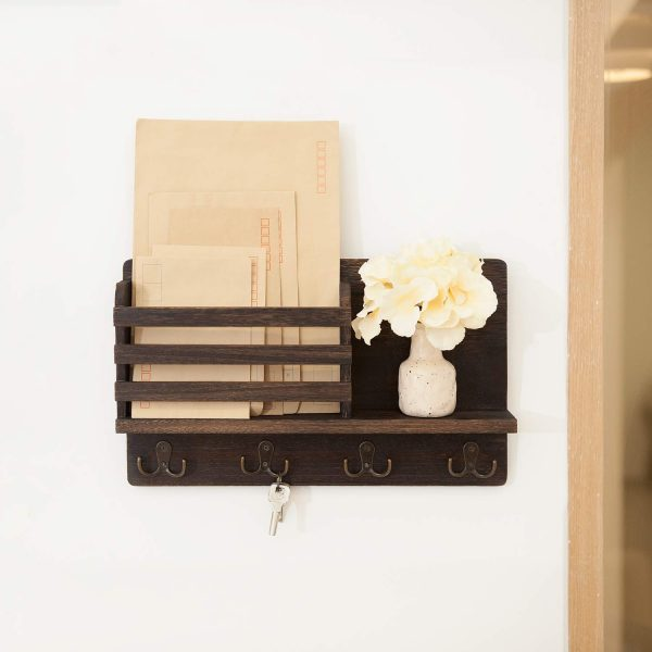 Stylish Wooden Mail Sorter Organizer with 4 Double Key Hooks for Home