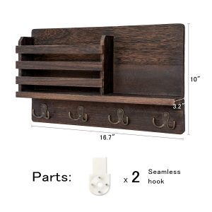 Wall Mounted Wooden Mail Sorter Organizer with 4 Double Key Hooks for Home