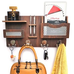 5 Star rating Wooden Wall Mounted Shelf with 4 Double Key Hooks