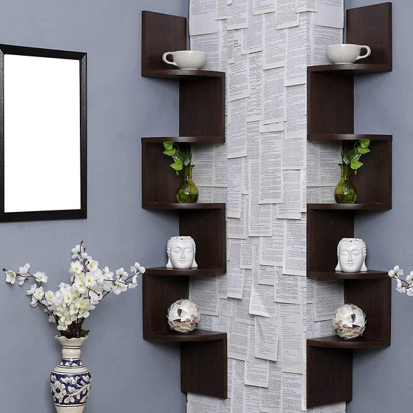 Zigzag Design Corner Wall Mount Shelf